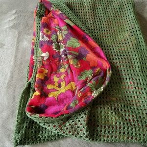 Duel Fabric Floral Scarf